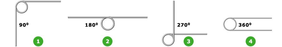 Ressorts de torsion - Positions de patte
