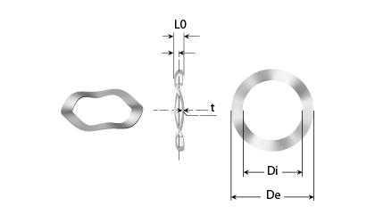 Dessin technique - Rondelles ondulées (3 ondulations)