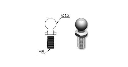 Technical drawing - Endfitting - Ballstud