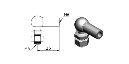 Technical drawing - Endfitting - Balljoint
