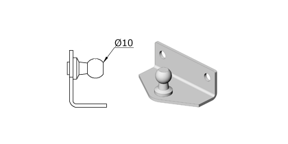 Technical drawing - Endfitting - Brackets ball