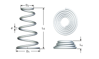 Technical drawing - Compression spring - Conical